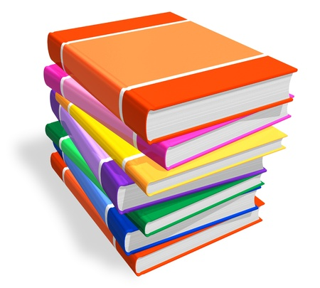 scientific literature: Stack of color books
