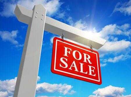 «Venta» el signo de bienes raíces Foto de archivo