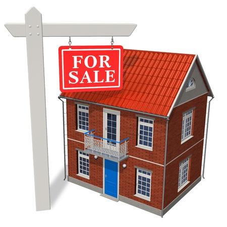 'For sale' sign in front of new house Stock Photo - 8325719