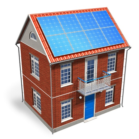 House with solar batteries on the roof Stock Photo - 8325720