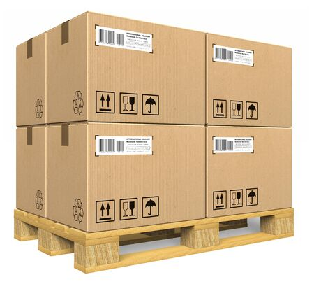 storage box: Cardboard boxes on pallet Stock Photo