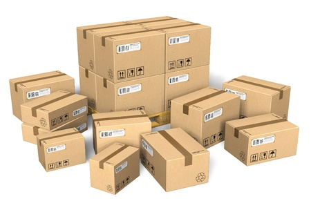 shipping boxes: Set of different cardboard boxes Stock Photo