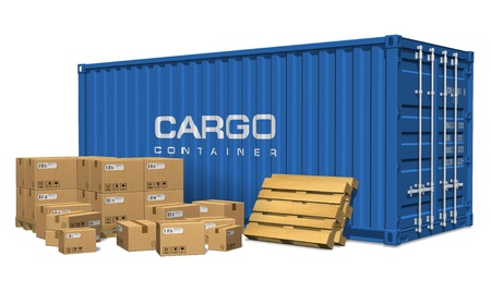 pallets: Cardboard boxes and cargo container