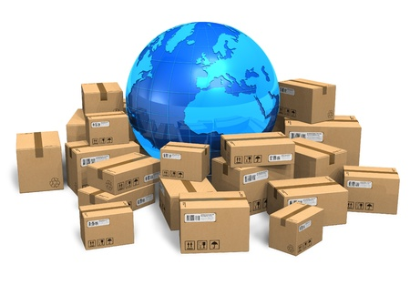 product box: Scatole di cartone e il globo terrestre
