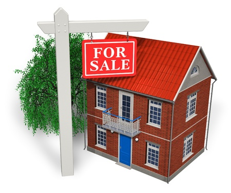 For sale sign in front of new house photo