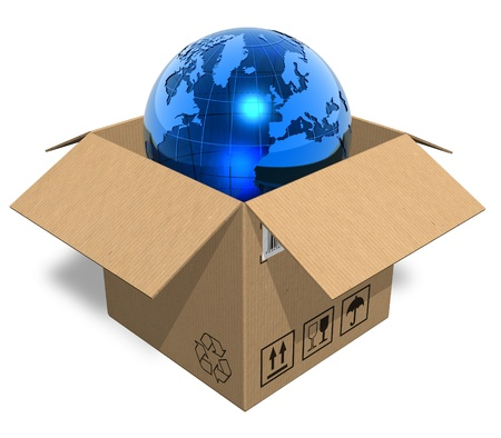 Earth globe in cardboard box photo