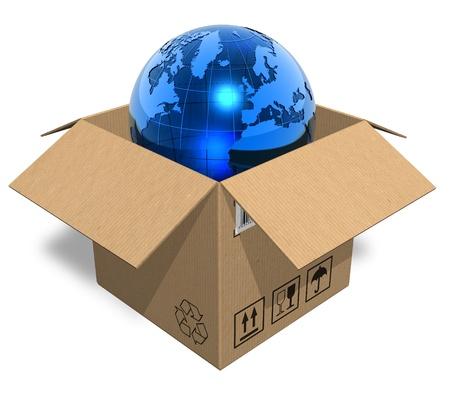Earth globe in cardboard box Stock Photo - 8406683