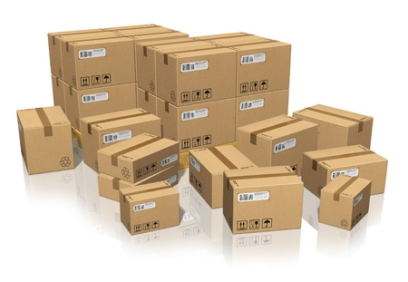 distribution box: Set of different cardboard boxes Stock Photo