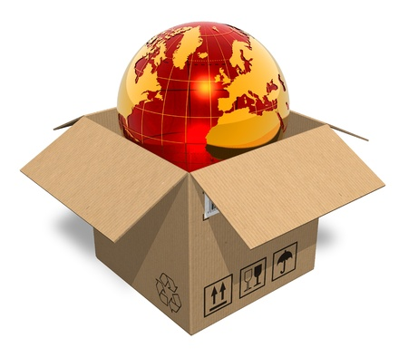 Earth globe in cardboard box Stock Photo - 8424404