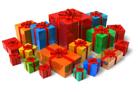 Set of color gift boxes photo