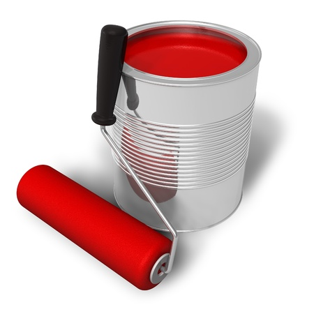 red paint roller: Can with red paint and roller brush