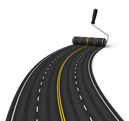 roller: Concepto de construcci�n de la carretera Foto de archivo