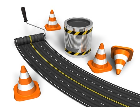traffic cones: Road construction concept