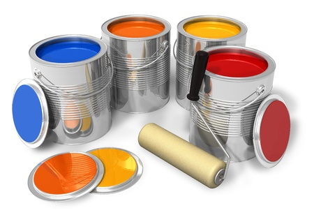 Cans with color paint and roller brush photo