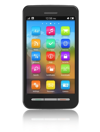 Touchscreen smartphone *** Smartphone design and all elements and used photos are my OWN Stock Photo - 8542577