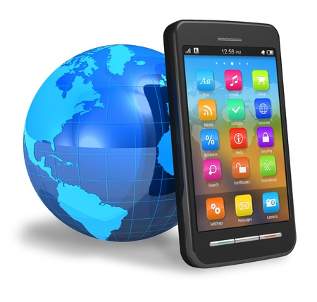 Touchscreen smartphone with Earth globe *** Smartphone design and all elements and used photos are my OWN Stock Photo - 8542576