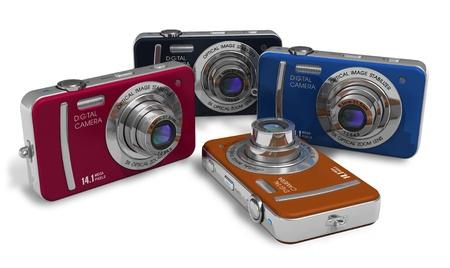point and shoot: Conjunto de las c�maras digitales compactas de color  Foto de archivo