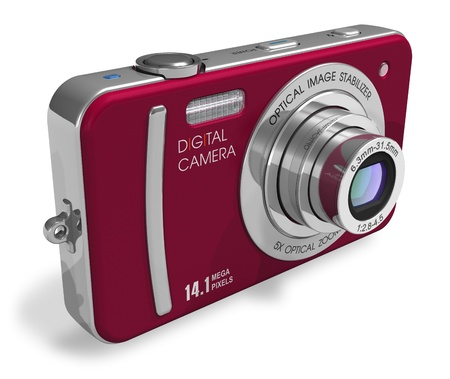 macro photography: Red compact digital camera *** Design of this device ald all parts is my own