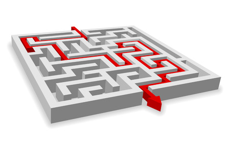 problem solving: Red path across labyrinth