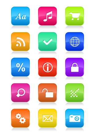 Mobile phone interface icons set Stock Vector - 8644062