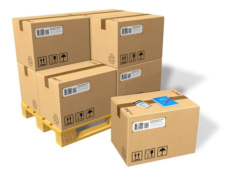 cardboard boxes: Cardboard boxes on pallet Stock Photo