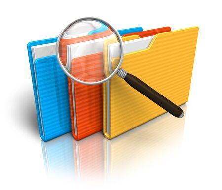 document management: Bestand zoeken concept: mappen en vergrootglas Stockfoto