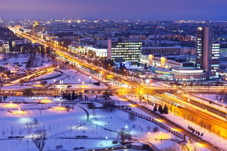 megapolis: Night winter panorama of Minsk, Belarus Stock Photo