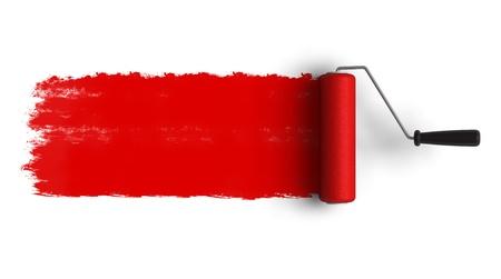 Pincel de rodillos rojo con pista de pintura