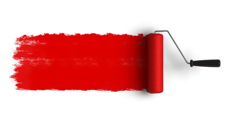 Red roller brush with trail of paint Stock Photo - 8644064
