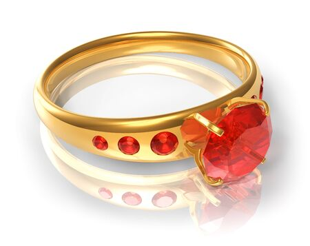 Golden ring with red jewels photo