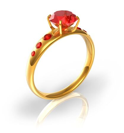 piedras preciosas: Anillo de oro con joyas rojas Foto de archivo