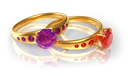 Golden wedding rings with jewels photo