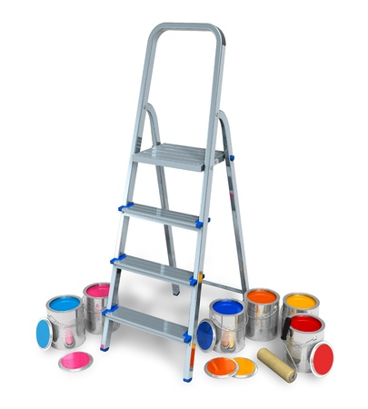 Stepladder with cans of color paint Stock Photo - 8644070