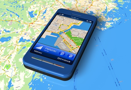 Smartphone with GPS navigator on map *** Design of smartphone is my OWN Stock Photo - 8644076