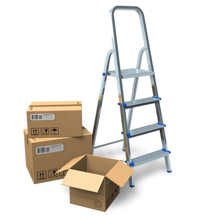 Stepladder and cardboard boxes Stock Photo - 8644075