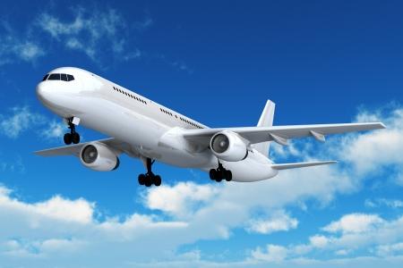 Vuelo de avión comercial de pasajeros en el cielo azul