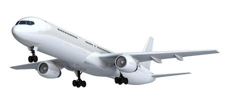 airborne vehicle: White isolated passenger liner Stock Photo