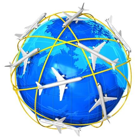 International air travel concept Stock Photo