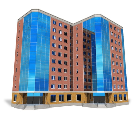 Modern tall business building isolated on white *** Design of this building is my OWN