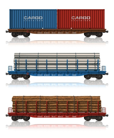 goods train: Set of freight railroad cars Stock Photo