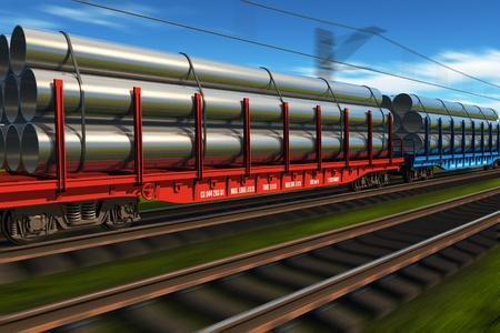 High speed freight train with metal pipes photo