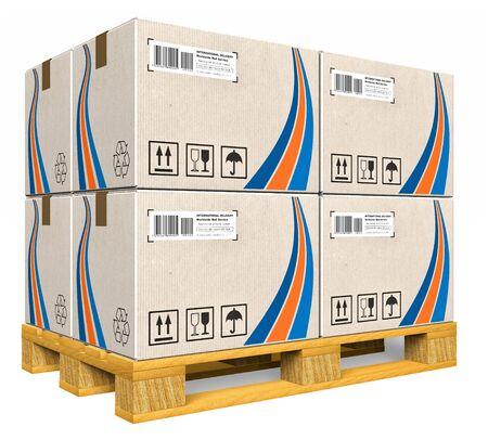 Boîtes en carton sur palette