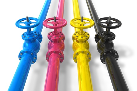 printer ink: CMYK pipelines with valves Stock Photo