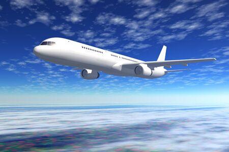 jetliner: Passenger airliner flight in the blue sky