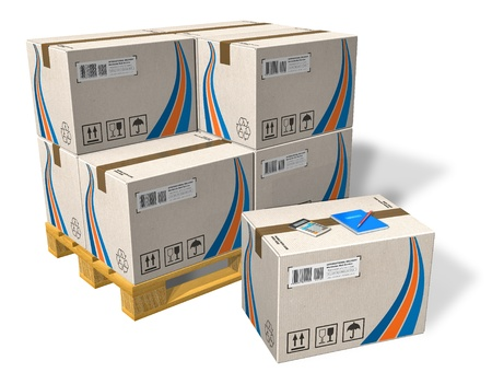 cajas de carton: Cajas de cart�n en pallet