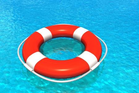 salvavidas: Salvavidas en agua Foto de archivo