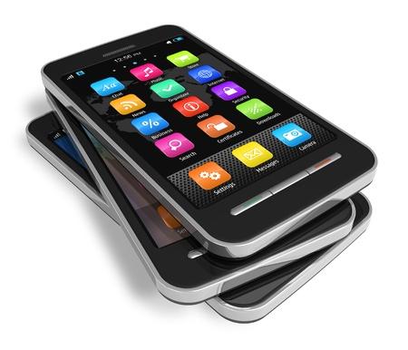 mobile headset: Conjunto de pantalla t�ctil smartphones *** el dise�o de estos dispositivos es mi propia Foto de archivo