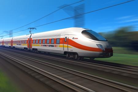 estacion de tren: Desenfoque de tren moderno de alta velocidad con movimiento *** el dise�o de este tren es mi propia