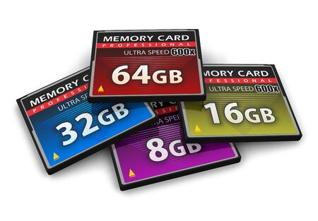 Set of CompactFlash memory cards photo