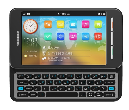 Side slider touchscreen smartphone *** Design of this device is my own Stock Photo - 8882505